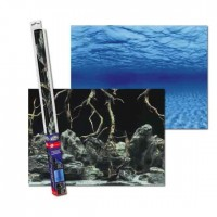 Аквариумный задний фон Aqua Nova Синее море/Камни с корягами 60x30 см